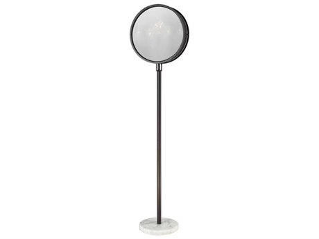 Elk Lighting Cadabra Oiled Bronze Finish / Plated Smoke Glass White Marble Base Floor Lamp