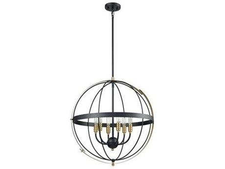 Elk Lighting Caldwell Matte Black / Satin Brass 24'' Wide Industrial Medium Chandelier