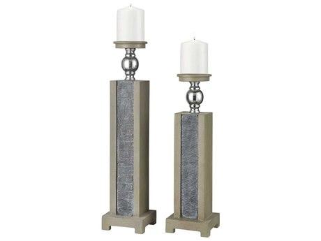 Elk Home Grey Slate / Polished Concrete Brushed Steel Candle Holder (Set of 2)