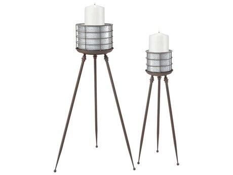 Elk Home Galvanized Steel / Rust Candle Holder (Set of 2)