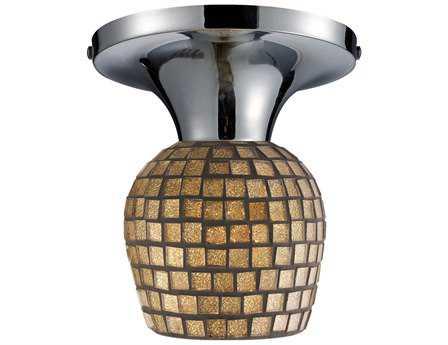 Elk Lighting Celina Polished Chrome & Gold Leaf Glass 7'' Wide Semi-Flush Mount Light