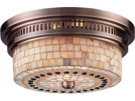 Elk Lighting Chadwick Antique Copper & Cappa Shells Two-Light 13'' Wide Flush Mount Light