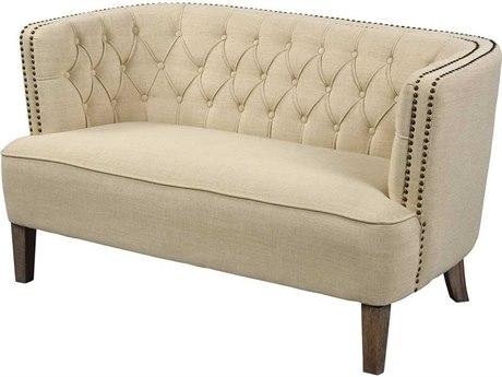 Elk Home Cream Linen / Grey Brass Chair and a Half EK1204104