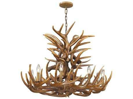 Elk Lighting Elk Wood Brown Nine-Light 32'' Wide Chandelier EK163169