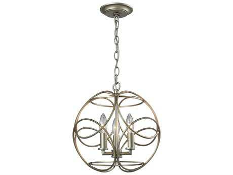 Elk Lighting Chandette Aged Silver Three-Light 14'' Wide Pendant