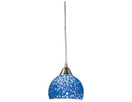 Elk Lighting Cira Satin Nickel with Pebbled Blue Glass 6'' Wide Mini Pendant Light EK101431PB