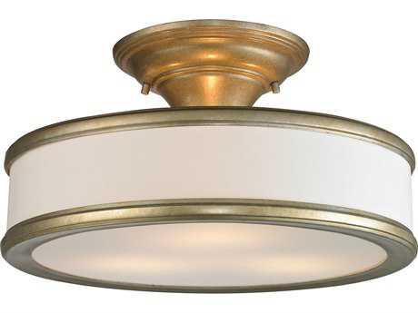 Elk Lighting Clarkton Aged Silver Three-Light 16'' Wide Semi-Flush Mount Light