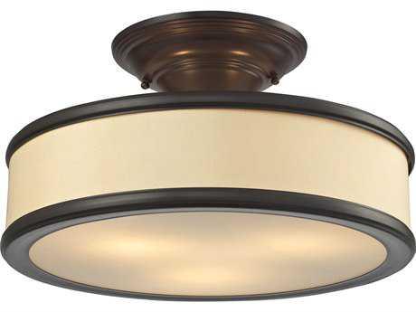 Elk Lighting Clarkton Oil Rubbed Bronze Three-Light 16'' Wide Semi-Flush Mount Light