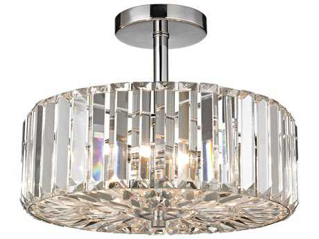 Elk Lighting Clearview Polished Chrome Three-Light 13'' Wide Semi-Flush Mount Light