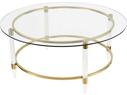 Gold Plated / Clear 42'' Wide Round Coffee Table