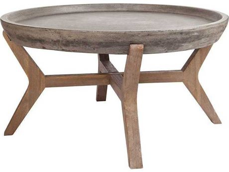Elk Home Silver Brushed Wood Tone / Waxed Concrete 31'' Wide Round Coffee Table