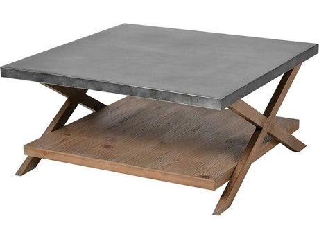 Elk Home Natural Wood / Antique Galvanized Steel 31'' Wide Square Coffee Table