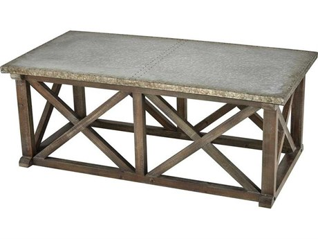 Elk Home Salvaged Grey Oak / Galvanized Steel 47'' Wide Rectangular Coffee Table
