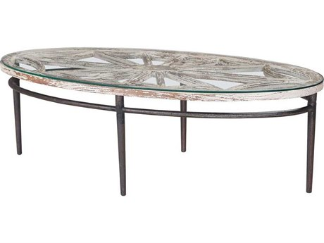 Elk Home Weathered Grey / White 54'' Wide Oval Coffee Table