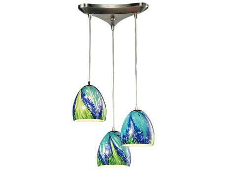 Elk Lighting Colorwave Satin Nickel Three-Light 10'' Wide Pendant