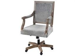 Grey Velvet / Salvaged Oak Computer Chair