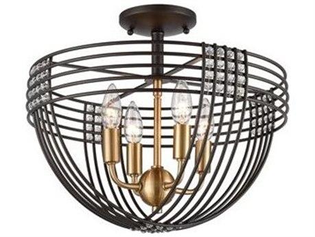 Elk Lighting Concentric Oil Rubbed Bronze / Satin Brass 16'' Wide Glass Semi-Flush Mount