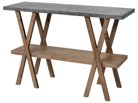 Elk Home Natural Wood / Antique Galvanized Steel 47'' Wide Rectangular Console Table