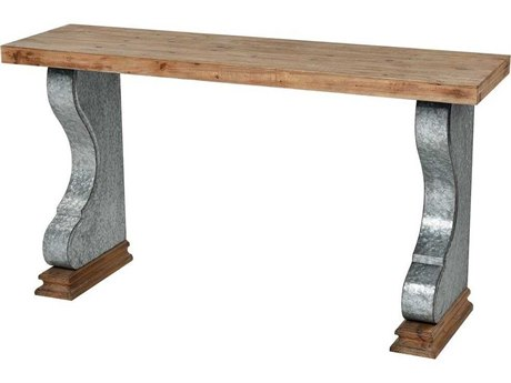Elk Home Wood Tone / Galvanized Steel 55'' Wide Rectangular Console Table