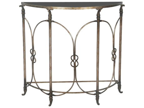 Elk Home Black / Heavily Antiqued Silver 38'' Wide Demilune Console Table