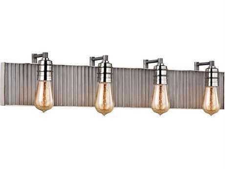 Elk Lighting Corrugated Steel Weathered Zinc Four-Light Vanity Light
