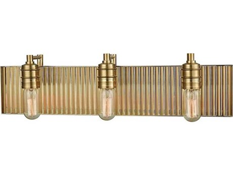 Elk Lighting Corrugated Steel Satin Brass Three-Light 24'' Wide Vanity Light