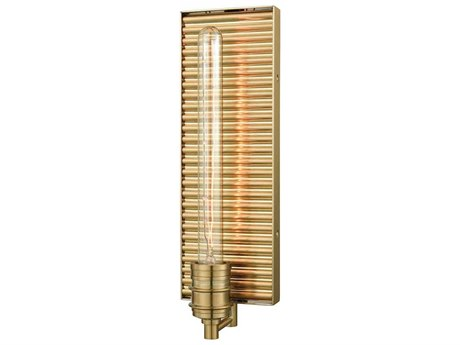 Elk Lighting Corrugated Steel Satin Brass 5'' Wide Wall Sconce