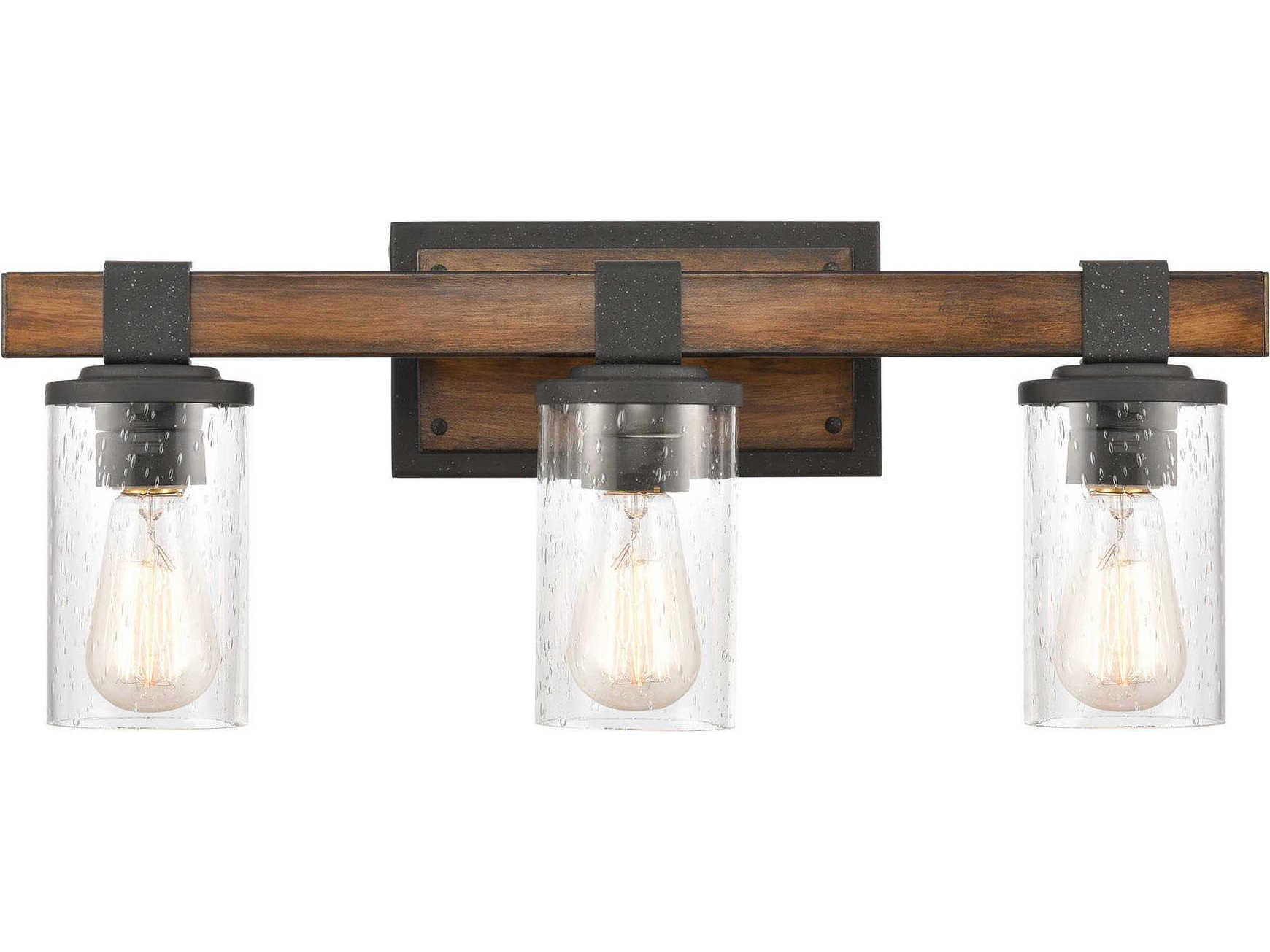 Elk Home Crenshaw Ballard Wood Distressed Black 3 Light Glass Industrial Vanity Light Ek891323