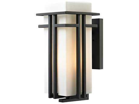 Elk Lighting Croftwell Textured Matte Black 8'' Wide Outdoor Wall Light