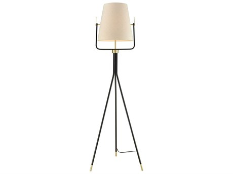 Elk Lighting Cromwell Black & Brass Floor Lamp with Off White Shade