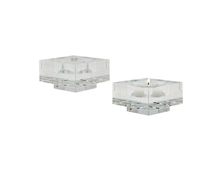 Elk Lighting Small Square Windowpane Crystal Candle Holders (Set of 2)