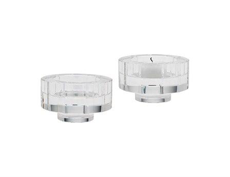 Elk Lighting Small Round Windowpane Crystal Candle Holders (Set of 2)
