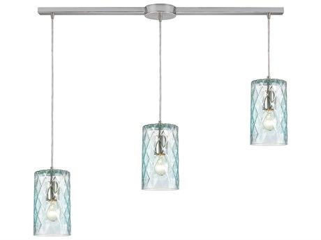 Elk Lighting Diamond Pleat Satin Nickel 36'' Wide Glass Island Light