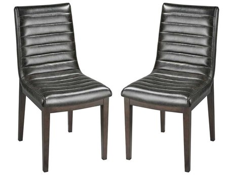 Elk Home Aged Black Faux Leather / Dark Stained Birch Wood Side Dining Chair (Set of 2)