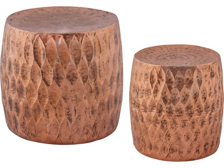 Elk Lighting Djembe Copper Iron Accent Stools (Two Piece Set)