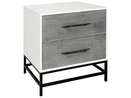 Elk Lighting Dovetail Gray Stained Wood / White Oil Rubbed Bronze 2 Drawers Nightstand EK70111508