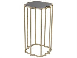 Gloss Black / Soft Gold 12'' Wide Drum Table