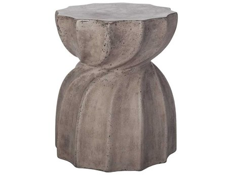 Elk Home Waxed Concrete 15'' Wide Round Drum Table