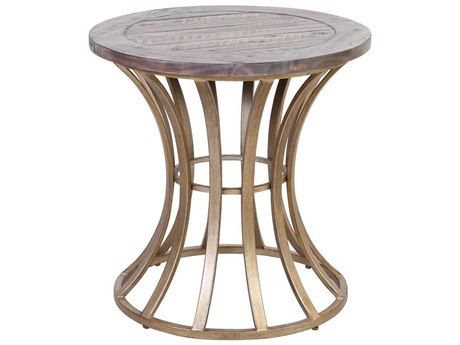 Elk Home Soft Gold / Solid Grey Pine 24'' Wide Round Drum Table