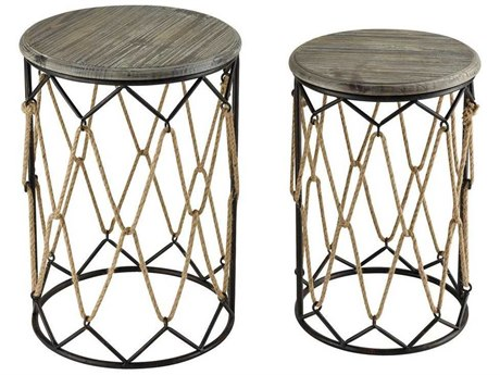 Elk Home Sand Blasted Hazelnut / Rust 17'' Wide Round Drum Table (Set of 2)