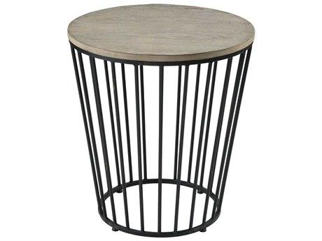 Elk Home Salvaged Grey Oak / Bronze 22'' Wide Round Drum Table
