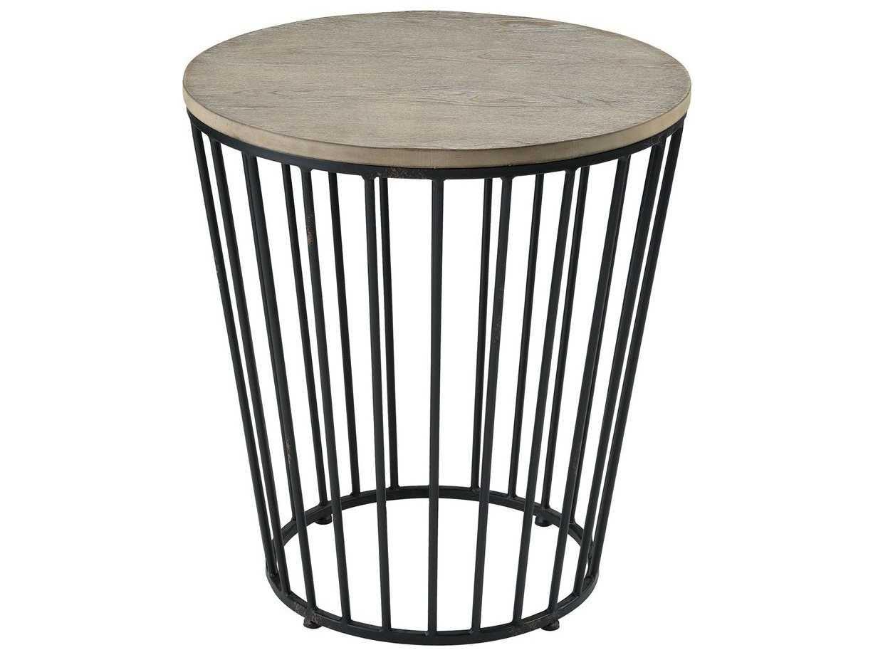 promo code 73a89 d029b Elk Home Salvaged Grey Oak / Bronze 22'' Wide Round Drum Table