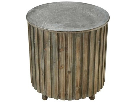 Elk Home Salvaged Grey Oak / Galvanized Steel 21'' Wide Round Drum Table