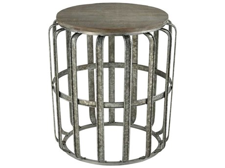 Elk Home Salvaged Grey Oak / Galvanized Steel 22'' Wide Round Drum Table