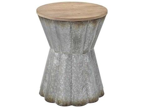 Elk Home Galvanized Steel / Reclaimed Wood 16'' Wide Round Drum Table
