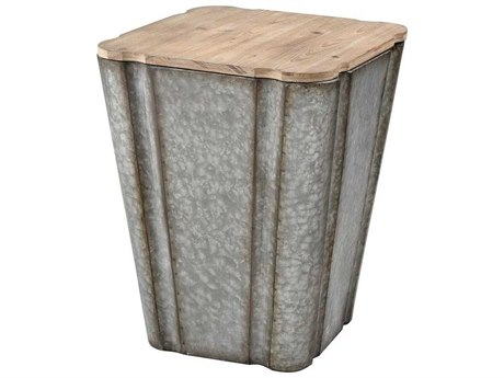 Elk Home Galvanized Steel / Reclaimed Wood 16'' Wide Square Drum Table
