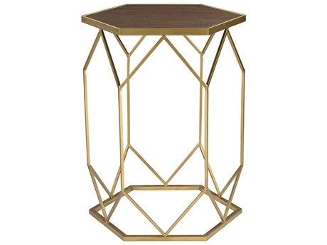 Elk Home Gold / Mahogany 16'' Wide Hexagon Drum Table