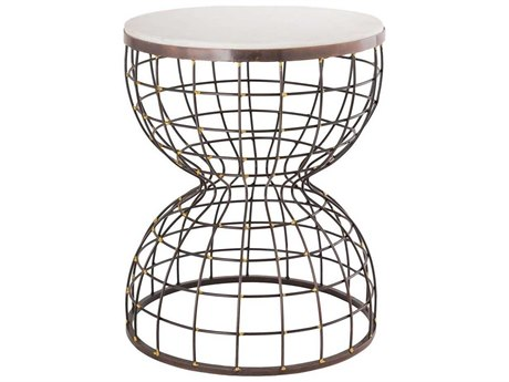 Elk Home Bronze / White Marble 15'' Wide Round Drum Table