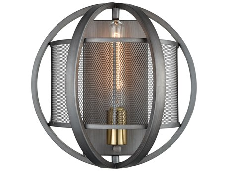 Elk Lighting Ellicott Weathered Zinc / Satin Brass Wall Sconce