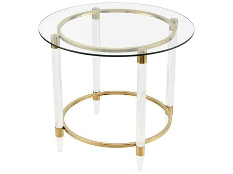 Elk Home Gold Plated / Clear 28'' Wide Round End Table